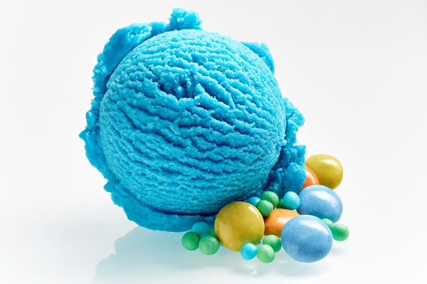 Bright Blue Ice Cream with Colorful Candies